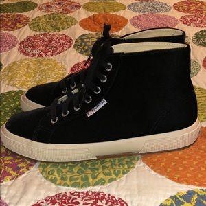 Superga black velvet sneakers-8.5